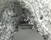 Celebi Purpur Silver White Black Sparkly Ringlet & Nub Novelty Ribbon Yarn 50 gram 124 yards