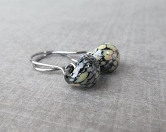 Mottled Black Dangles, Small Black Earrings, Lampwork Earrings, Black Glass Earrings, Dark Wire Earrings, Oxidized Sterling Silver Earrings