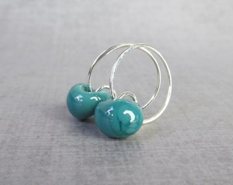 Dark Bluegrass Silver Hoops, Bluegrass Green Hoop Earrings, Lampwork Hoops Green, Green Silver Earrings Hoops, Sterling Silver Wire Hoops
