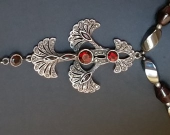 Gothic Blood Red Garnet Gemstone and Fine Swiss Marcasite Sterling Silver Pendant Necklace
