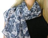Blue paisley Long chiffon scarf -Parisian Neck Tissu-Blue summer scarves