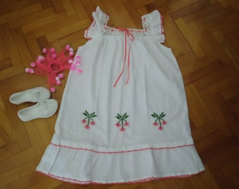 Cotton gauze little girls Cherry dress-Peasant dress with Cherries- 7-8 years- Crocheted and embroidered-white,pink and green