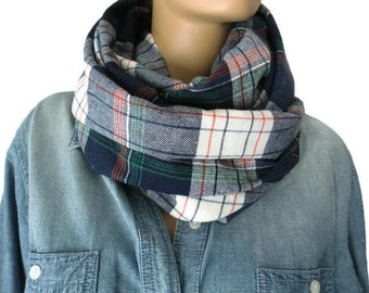 Navy Blue plaid flannel infinity scarf/ cowl /Loop scarf unisex flannel Navy blue  tartan Infinity Scarf-Free shipping