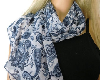 Blue paisley Long chiffon scarf -Parisian Neck Tissu-Blue summer scarves