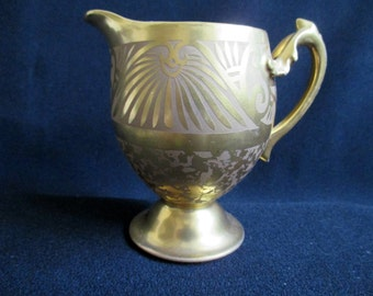 W Pickard Gold Encrusted Creamer, Vintage Cream Pitcher, Gold Pitcher, Art Nouveau, Handpainted China