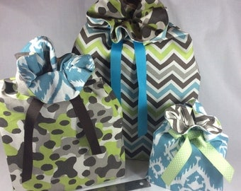 Reusable Gift Bags / Gift Bags with Ribbon Tie / Fabric Gift Bag / Set of 3 / Blue and Brown / Favor Bags / Storage Bags