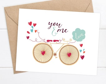 Boyfriend card  - I love you Card - Thinking of You - Birthday card - Just for fun card - Just because - Bicycle You and Me Greeting