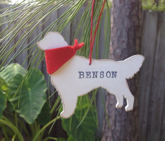 Dog Christmas Ornament -Wooden Golden Retriever-PERONALIZED FREE!