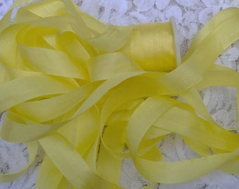 Pure Silk Ribbon 13mm 1/2 inch wide 10 yds P. Yellow Color