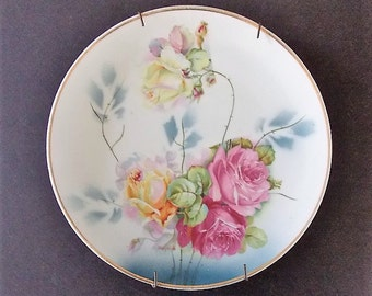 Gold Trimmed Decorative Plate, German Porcelain Plate, Hand Painted Roses, The JonotR Studios, Victorian Plate,