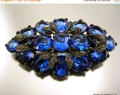 Love Yourself Sale Art Deco Czech Blue Glass Brooch with Silvery Leaves