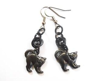 Black cat earrings, Halloween cat jewelry, Black Halloween cats, Kitty earrings, Hissing cats