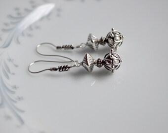 Sterling silver bali bead dangle earrings, bali bead jewelry, sterling silver jewelry