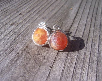 Fire agate wire wrapped sterling silver stud earrings, post earrings, fire agate jewellery