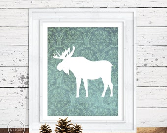 Moose on Damask Wallpaper Silhouette Printable Art 8x10
