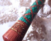 "The ""Princess Eve"" Celtic Knot Hair Stick Featuring Honduras Rosewood inlaid with Malachite and Gold Extreme Pearl Essence"