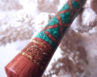 """The """"Princess Eve"""" Celtic Knot Hair Stick Featuring Honduras Rosewood inlaid with Malachite and Gold Extreme Pearl Essence"""