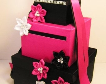 Wedding Card Box Black and Fuchsia/Shocking Pink Gift Card Box Money Box  Holder--Customize your color