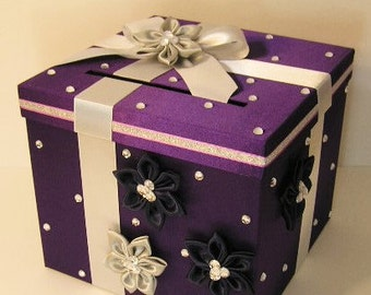 Wedding Card Box Purple,Silver and Black Gift Card Box Money Card Box Holder-Customize your color