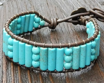 Magnesite Cuff Bracelet - Turquoise Colored Beads, Brown Leather Bracelet