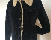 GAP Faux Sherpa Black Velour Jacket Coat womens XS extra small
