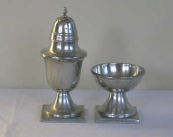 SALE REDUCED Vintage Stieff Pewter Salt Cellar and Pepper Shaker, Colonial Style Square Pedestal Base.