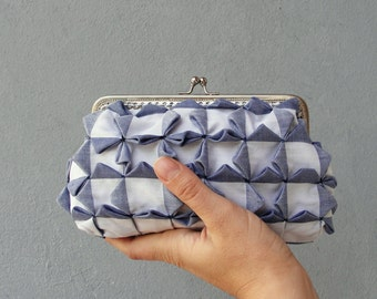 Cubes Clutch Purse - Smocked Gingham Denim Blue and White