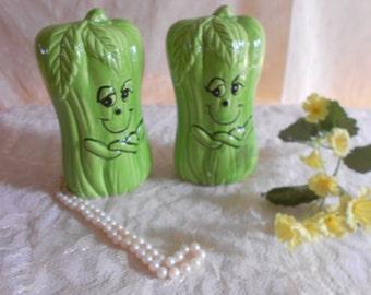 Celery Stalk  Salt and Pepper Shakers