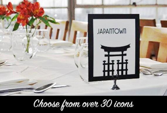 San Francisco Table Number Card Wedding Decor Sign City Landmarks Bridal Reception Signage