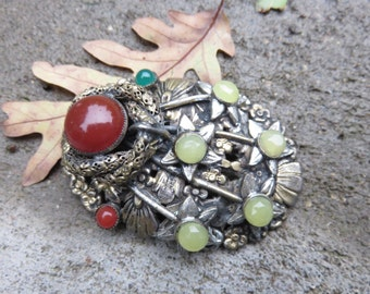 Art Deco Carnelian Fur Clip, Dress Clip,  Chrysoprase , leaves, stars and a snake