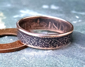 Copper Coin Ring - India 1 Pice Coin Ring 1945 - Leaf Pattern - Size: 7