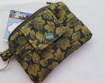 Zipper Wallet Pouch Fall Leaves Card holder -