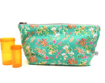 Medicine Bag -Cottagely Posy - RX perscription medicine bag pill case travel first aid kit cosmetic bag zipper pouch pill case