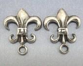 SALE Sterling Silver Post Earring Fleur de Lys Flur De Lis 1 pair Findings Jewelry Supplies
