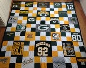 Full/Queen Size Upcycled Patchwork Green Bay Packer Tshirt Blanket/Quilt