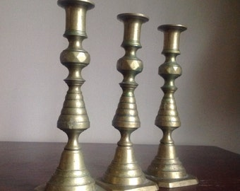 Trio of Vintage Brass Candlestick Holders. Made in England.