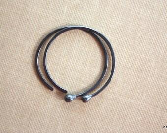 Copper Hoop Earrings, Small Hoop Earrings, Oxidized Earrings