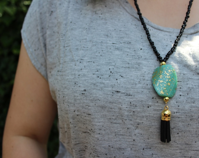 Black and Turquoise Beaded Tassel Necklace.