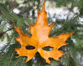 Leather Mask Fall Maple Leaf