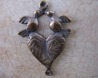 Heart and Doves Link Religious Jewelry Supplies Milagros Bronze Jewelry Findings B1032LS