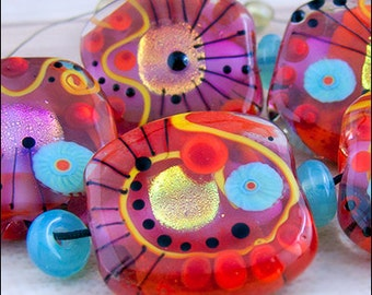 Modern Art Glass - 5 free shaped focal beads in red, pink with sparkling dichroic, by Michou P. Anderson