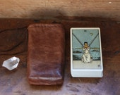 Leather drawstring tarot pouch