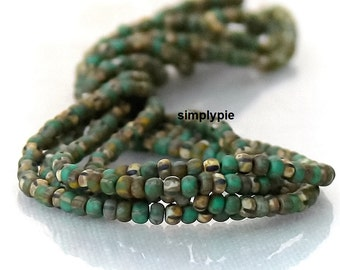 10/0 Aged Striped Green Beige Mix Picasso Czech Glass Seed Beads Two 12-Inch Strands