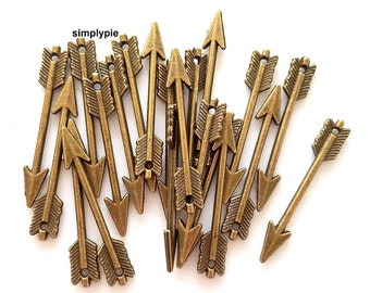 Arrow Antiqued Brass Focal Pendant Charms 20 Pcs 30x5mm