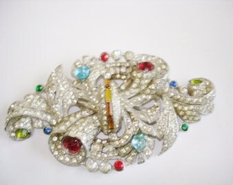 Multi Color Rhinestone Vintage Jewelry  Brooch Silver Tone