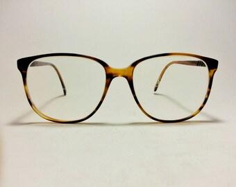 Vintage Colourline Schoolboy Eyeglass Frames Faux Tortoise Large Lens Nerd Hipster Prepping 1980s