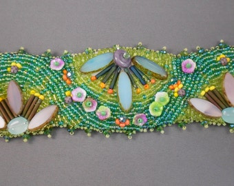 Flowers In My Garden Bead Embroidered Cuff