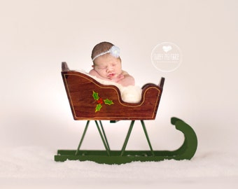 Instant Download Photography Prop DIGITAL BACKDROP for Photographers - Holly Berry Sleigh - Digital Background