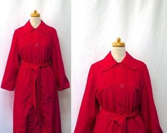 1950s / 60s Vintage Weatherbee Trench Coat / Cerise Pink Rain Coat