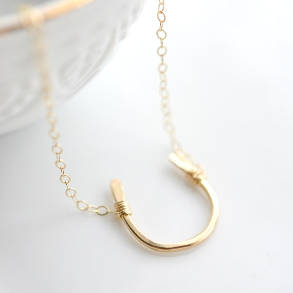 Gold Layering Necklace - Gold Horseshoe Necklace -  Equestrian Jewelry - Horseshoe Everyday Necklace - Minimalist Jewelry - Lucky Charm